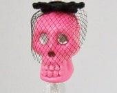 Neon Pink Skull Stick Pin With Birdcage Veil 'One-Eyed Ofelia'
