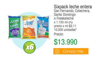 Sixpack leche enteraSan Fernando, Colechera, Santo Domingo o Freskaleche x 1.100 ml c/u precio x ml $2,11 10.000 unidades* - PRECIO: $13.990