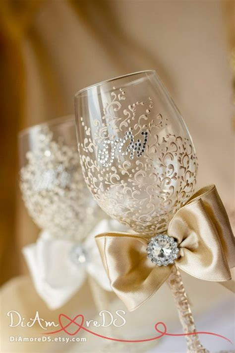 Ivory and champagne wine flutes, bride and groom, wedding