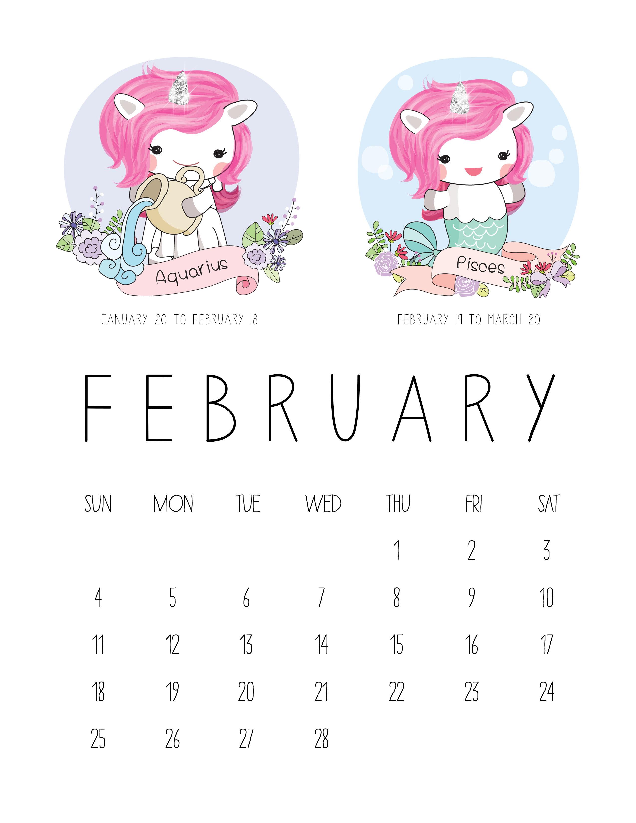 TCM Unicorn Zodiac Calendar 2