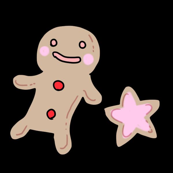 人形と星のクッキーのイラスト かわいいフリー素材が無料のイラストレイン