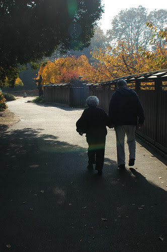 My parents walking toward the entrance of the Japanese Garden