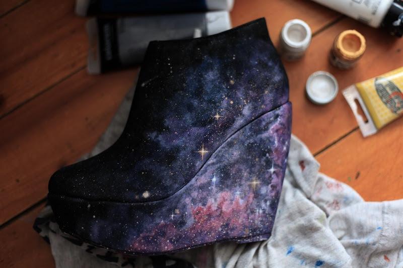 AlexandraSophie Etsy handpainted Galaxy wedge shoe