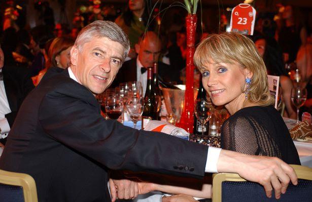 Martin Keown testimonial Dinner Arsene Wenger and his wife Annie Brosterhous