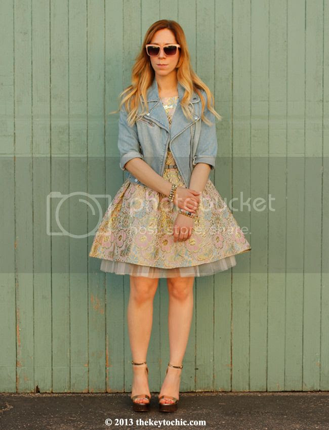Boohoo Global Styler campaign, Boohoo Boutique Georgie brocade prom dress, denim moto jacket, rose gold heels, Topshop chic belt, Los Angeles fashion blog