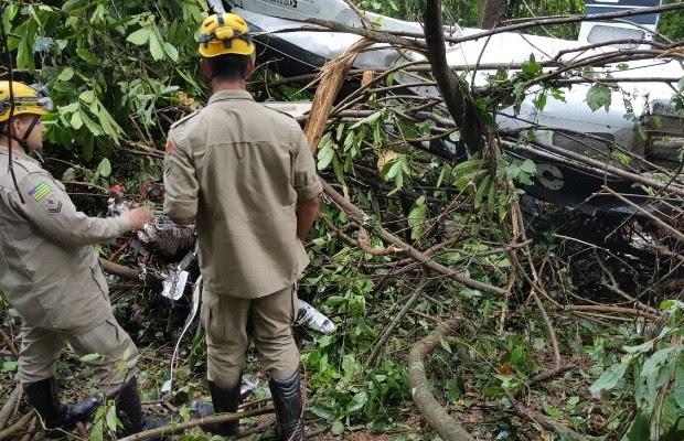 Avião que caiu e matou 3 em Goiás estava apto para voo, diz Anac (Foto: Divulgação/Corpo de Bombeiros)