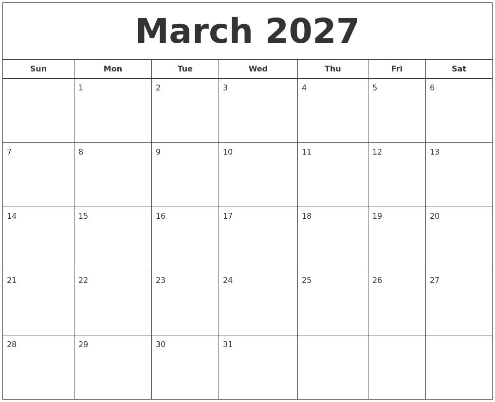 march 2027 printable calendar