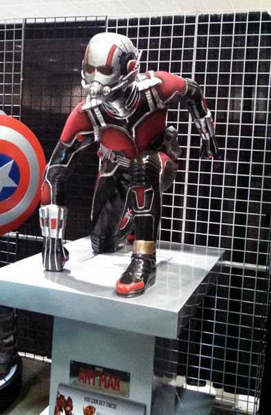A life-size statue of ANT-MAN on display at Stan Lee's Comikaze Expo in downtown Los Angeles, on October 31, 2015.