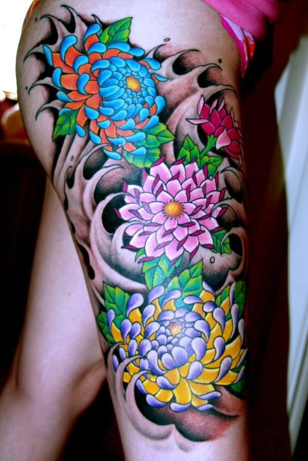 Colored Japanese Flowers Tattoos On Right Leg