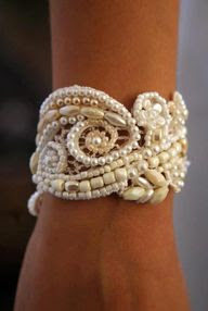 pearls over lace bracelet