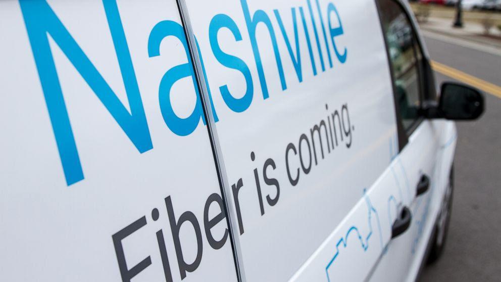 PHOTO: New Google Fiber service is advertised on a van in Nashville, Tenn., on Jan. 27, 2015.