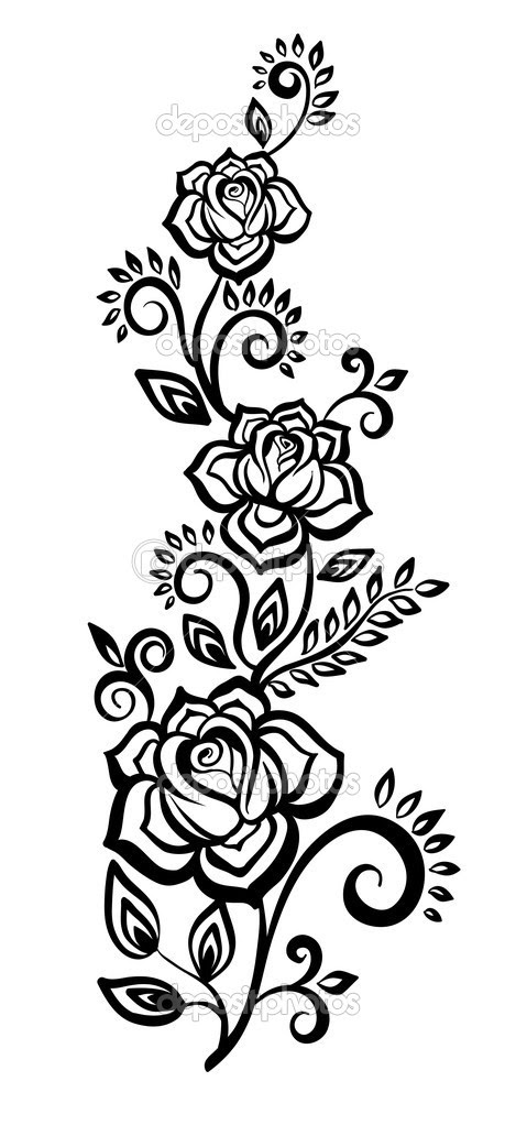 7 Black And White Flower Design Images Black And White Flower