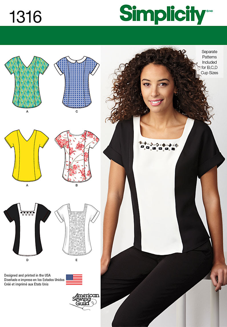 Simplicity Misses' Top with Neckline Variations 1316