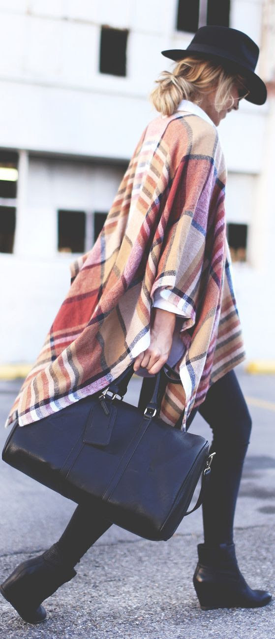 Camel Multi Plaid Poncho by Happily Grey