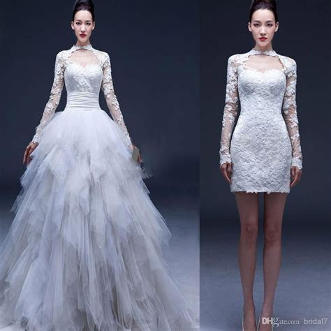 Cheap 2014 Long Sleeve Convertible Wedding Dresses 2 In 1