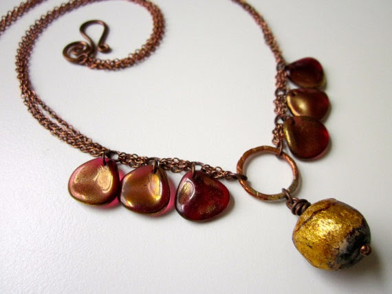 Gilded Rose - rustic gold leaf plum Tibetan ceramic prayer bead, golden rose red Czech glass petals, and antiqued copper layered necklace by LoveRoot, $32.00
