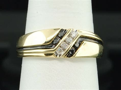 Mens 10K Yellow Gold 4 Stone Black & White Diamond