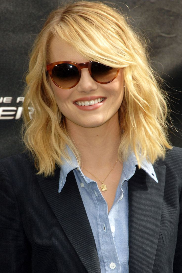 Emma Stone With A Long Bob And Sweeping Fringe Hairstyles For