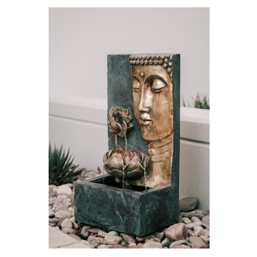 Xbrand Xbrand Cascading Lotus Buddha Face Indoor Outdoor Zen Water Fountain W Led Light 30 In Tall Bronze And Natural Grey In The Indoor Fountains Department At Lowes Com