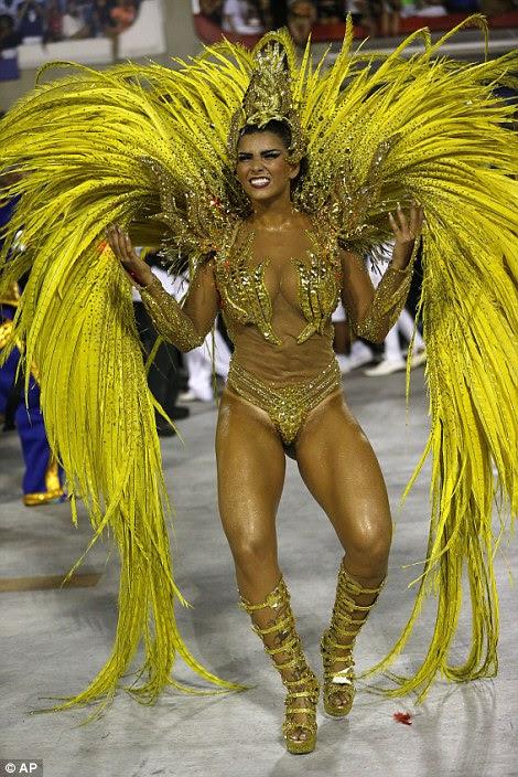 Drum queen Bianca Leao, from Uniao da Ilha samba school, dances during Carnival