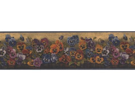 yellow floral pansies wallpaper border