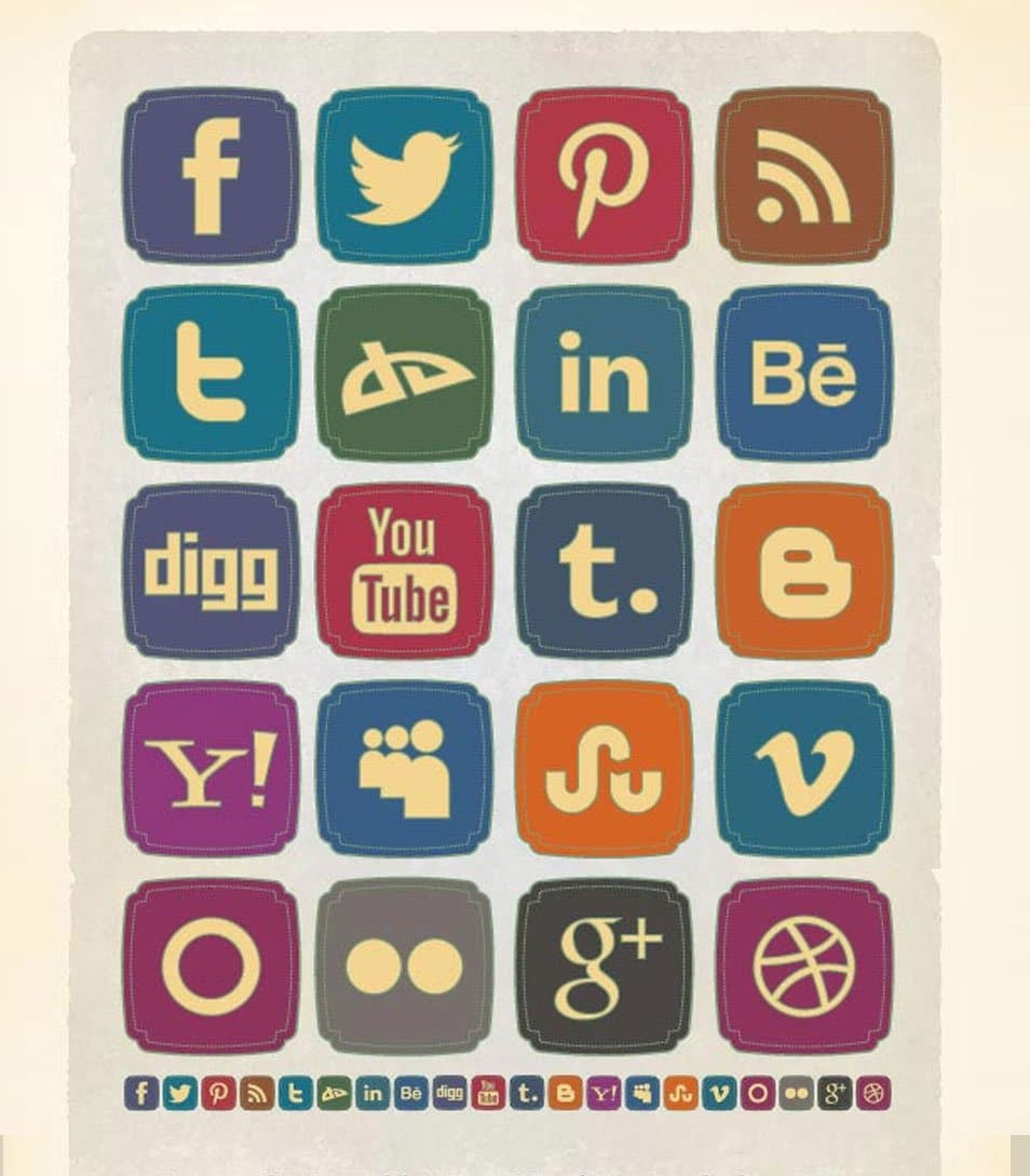 20 Free Retro Style Social Media Icons Set (256 x 256 PNG)