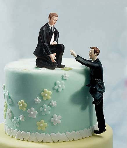 Gay Cake Topper   Climbing Groom and Helpful Groom Mix
