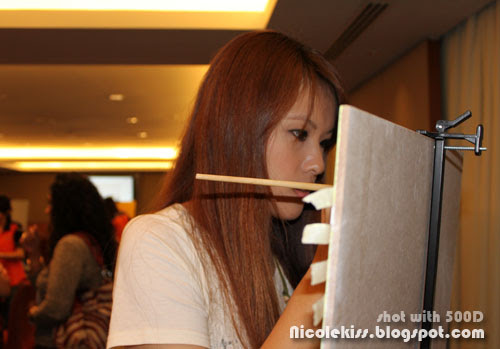 concentrating on painting