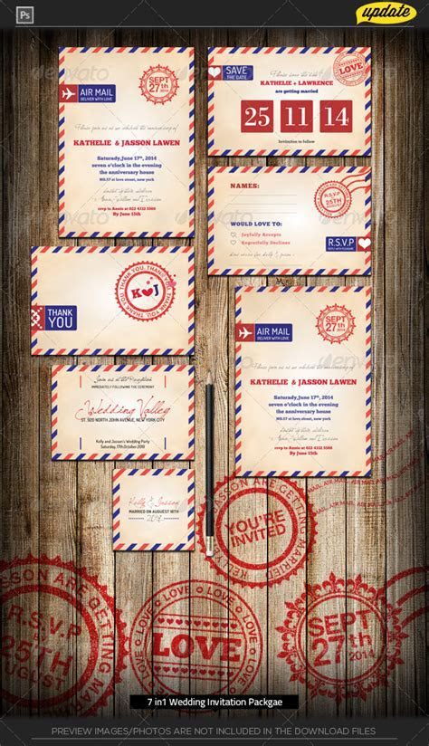 Wedding Invitation Package   Stamp Air Mail by katzeline