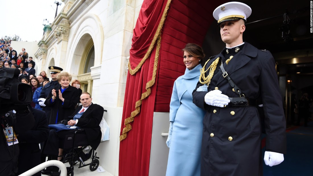 Melania Trump arrives for the ceremony.