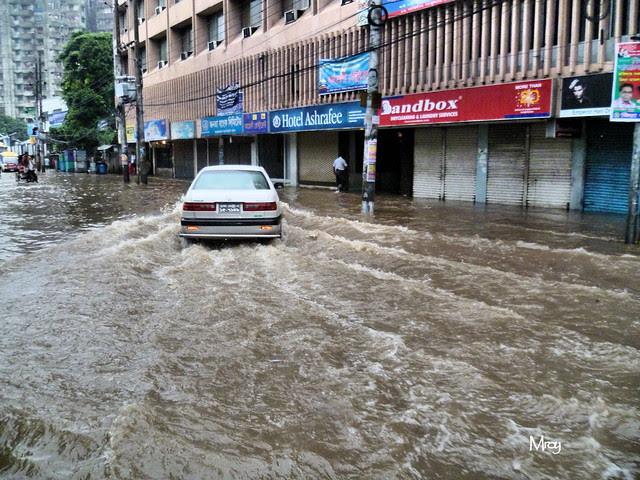 Flooded street in Dhaka
