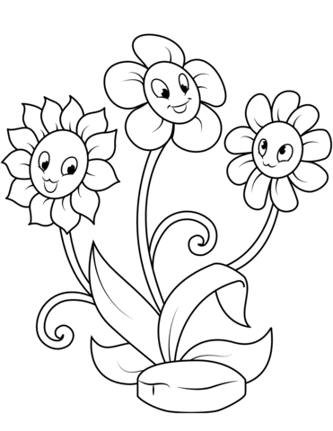 cute flower characters coloring page  free printable coloring pages