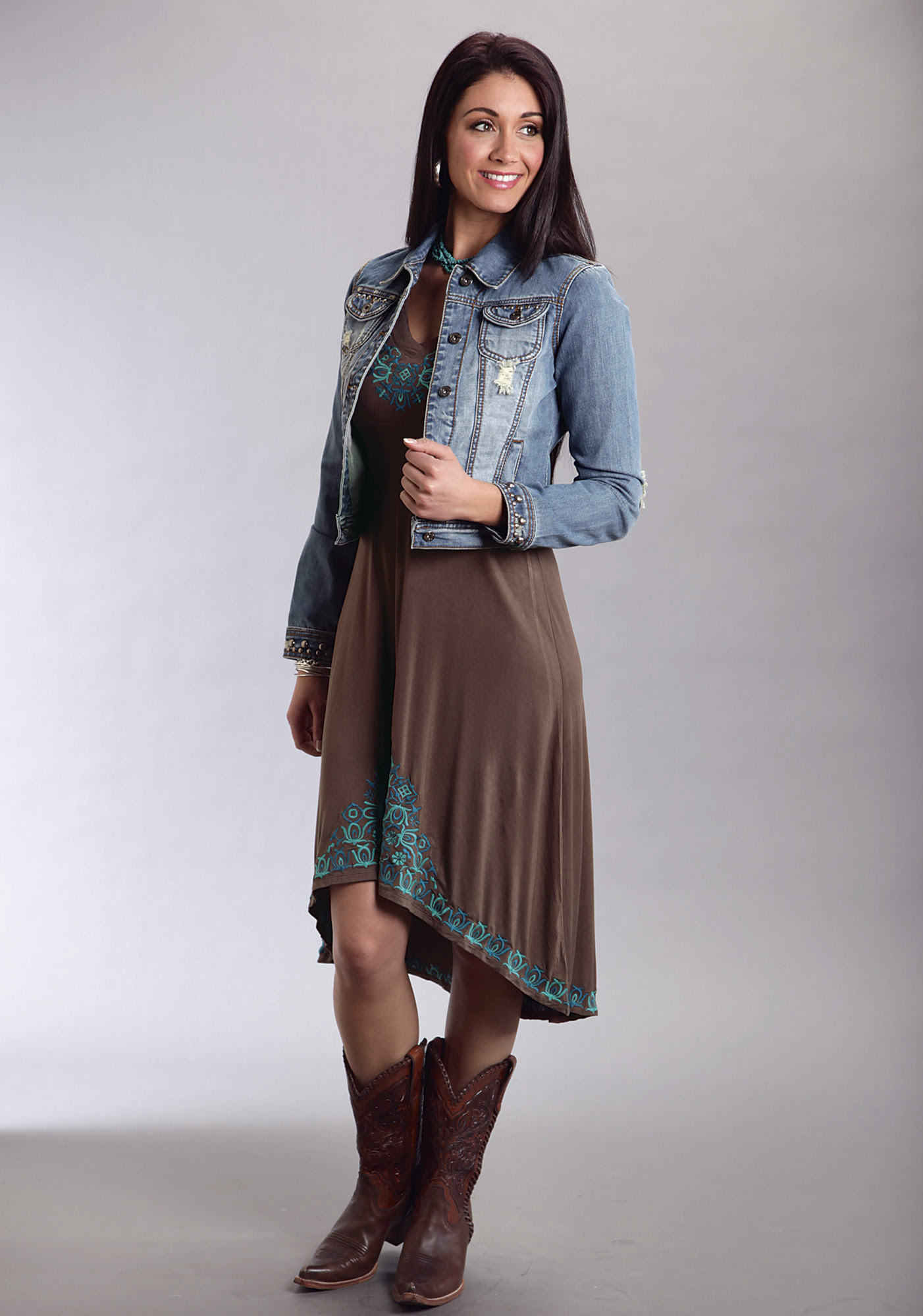 stetson® brown turquoise embroidered hilo hem western dress