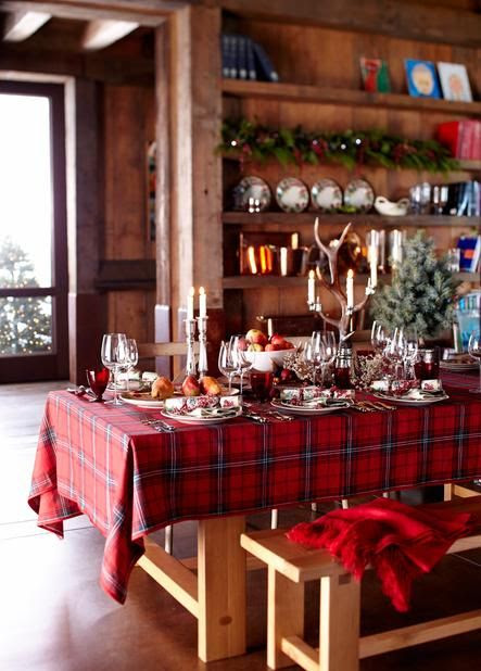 Williams-Sonoma Tartan Table. The festive red pattern brings cheer to a cozy cabin setting.