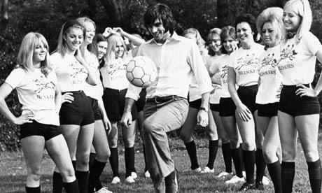 Footballer George Best shows off his skills to Blinkers Ladies football team