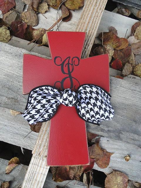 monogrammed wooden cross