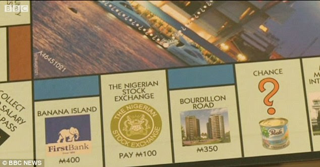 Trading places: Other squares include the Nigerian Stock Exchange, which replaces London's 'Super tax: Pay £100' and Bourdillon Road instead of Park Lane