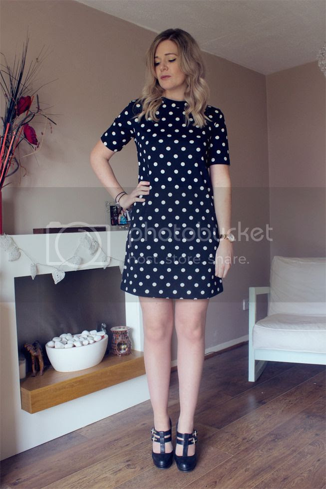 polka dot high neck shift dress