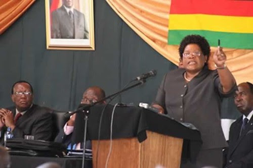 Republic of Zimbabwe Vice-President Joice Mujuru speaking on September 26, 2013. Mujuru was acting president while President Mugabe was at the UN General Assembly. by Pan-African News Wire File Photos