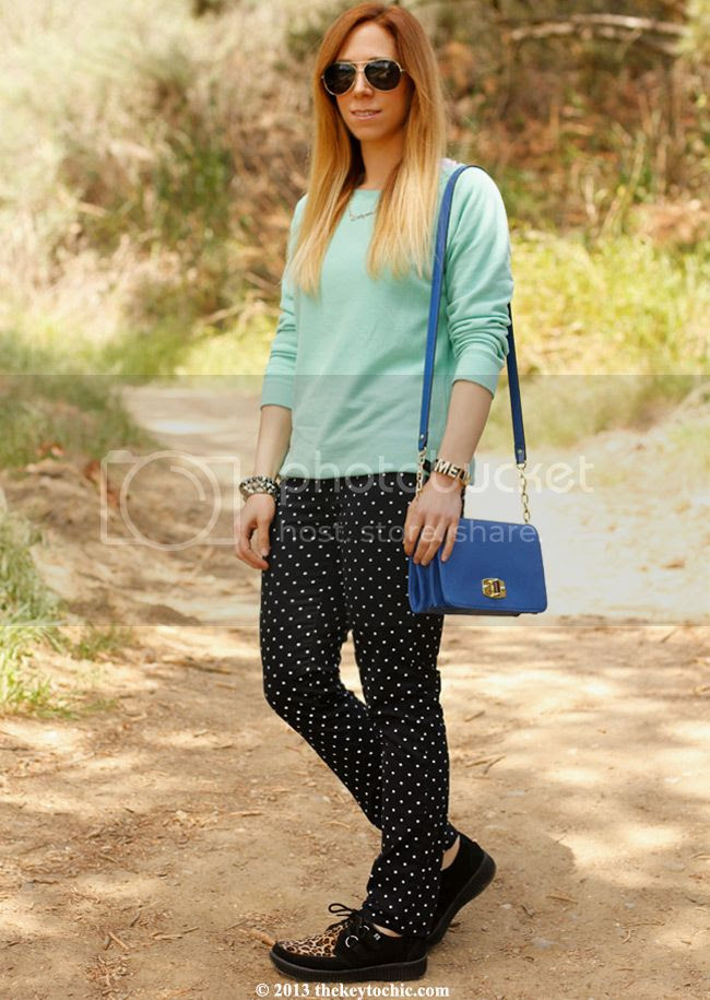 polka dot JCP jeans, T.U.K. Viva leopard creepers, Merona handbag, Los Angeles fashion blog