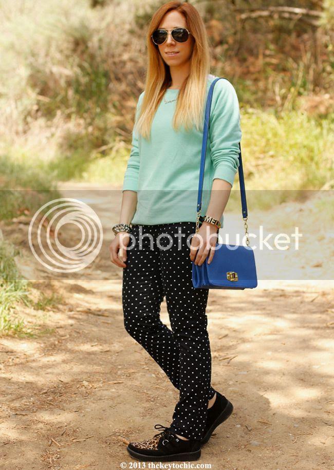 polka dot JCP jeans, T.U.K. Viva leopard creepers, Merona handbag, Los Angeles fashion blog