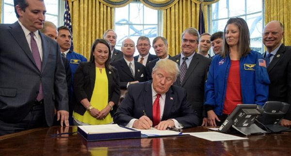 President Trump signs the NASA Transition Authorization Act of 2017 on March 21, 2017...three days before his attempt to repeal and replace Obamacare failed. Both are great news.