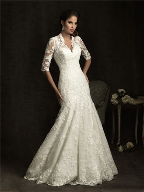 Slim A Line V Neck Sheer Back Ivory Lace Wedding Dress