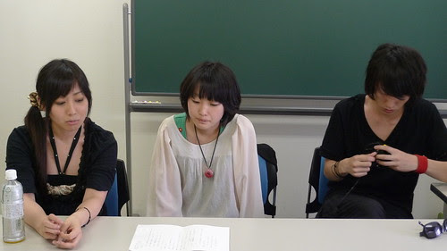 An-chan, Yumiko and Kabayama doing line-reading for short film 3PM
