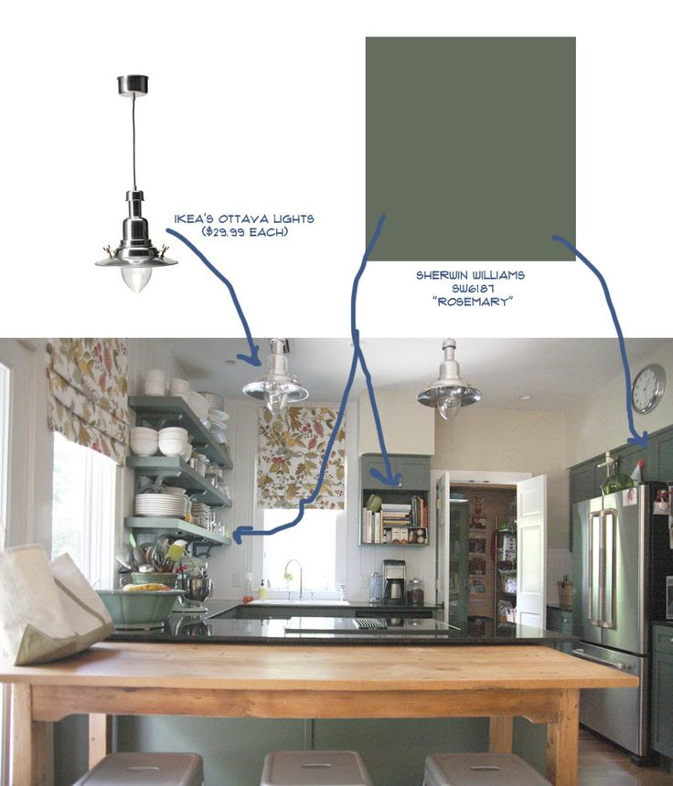 Love the paint color...not necessarily for kitchen cabinets, and the pendant