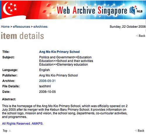 NLB web archive - Item Details