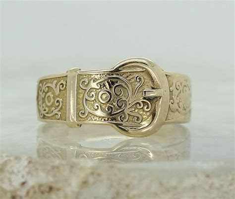vintage ct yellow gold buckle ring size  ladies  mens