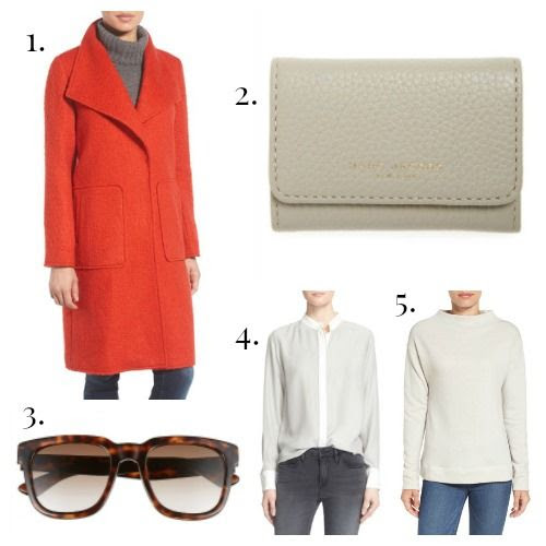 Bernardo Coat - Marc Jacobs Key Case - Gucci Sunglasses - FRAME Blouse - Calson Sweatshirt