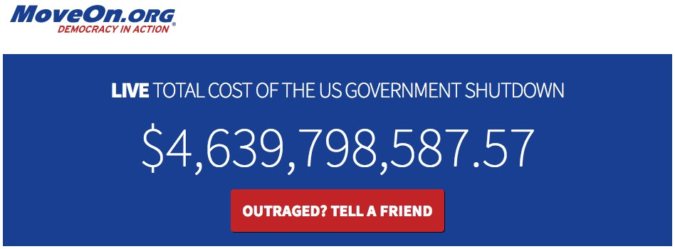 Live   cost of the government shutdown