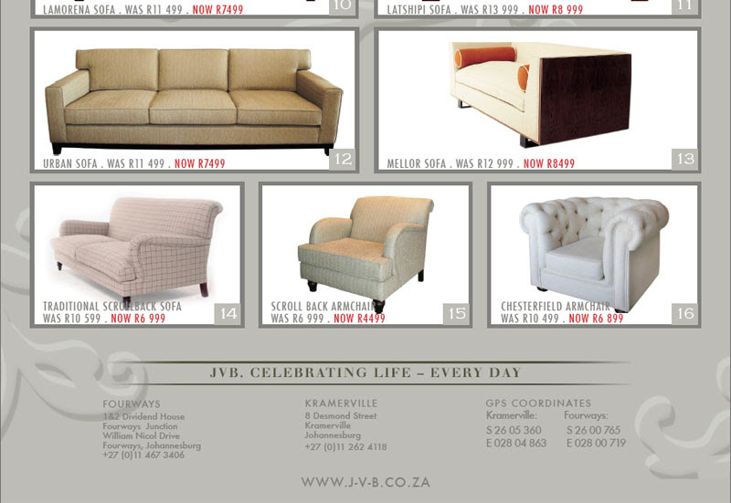 JVB Furniture Collection | Sumptuous Sofa Sale Friday 01 June 2012